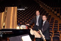 Member of the Jury, pianist George Konstantinidis with the competition Concert Piano Technician, Takuro Hanada.jpg